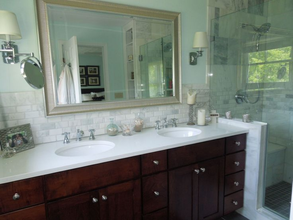 Image of: Light Gray Quartz Countertops For Bathrooms