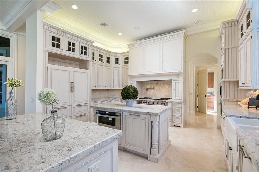 Image of: Pictures Of White Marble Kitchen Countertops