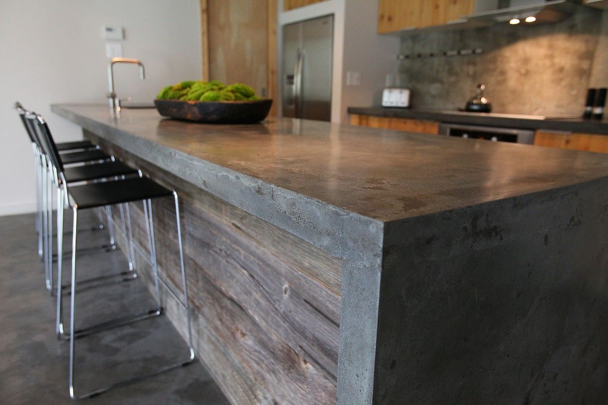 Image of: Polished Concrete Countertops Island