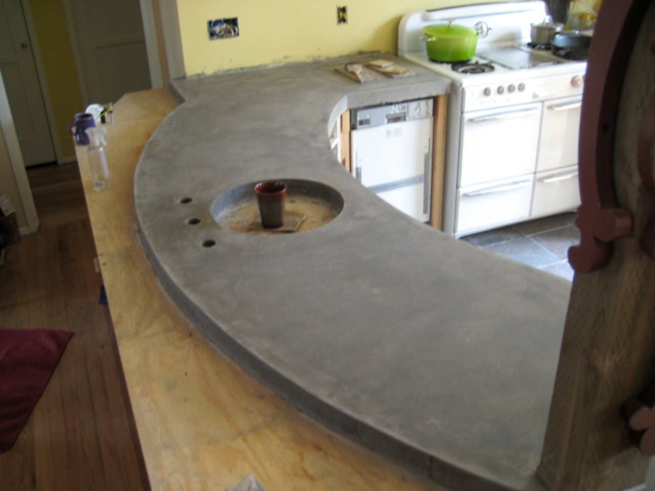 Pour In Place Concrete Countertop With Sink