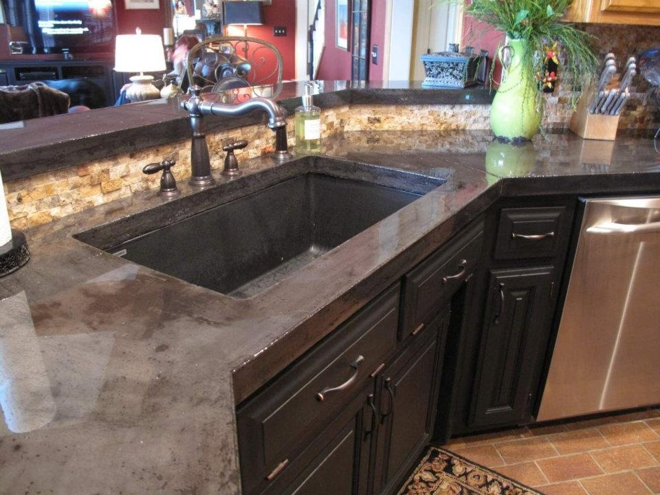 Image of: Stained Concrete Countertops Diy