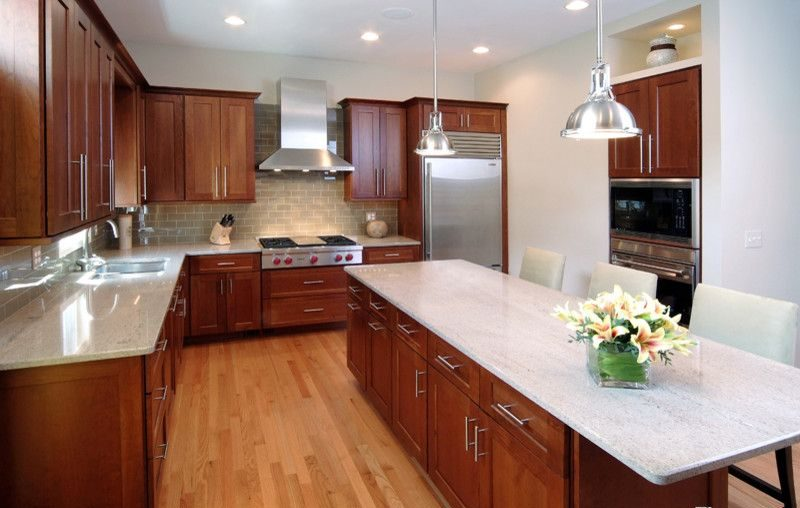 Image of: White Granite Countertops Cherry Cabinets