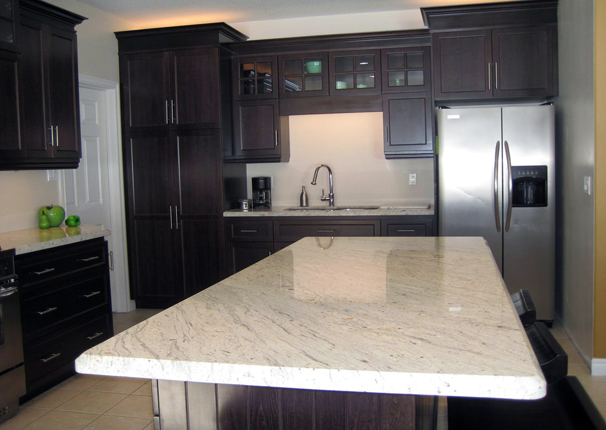 White Granite Countertops With Dark Cabinets