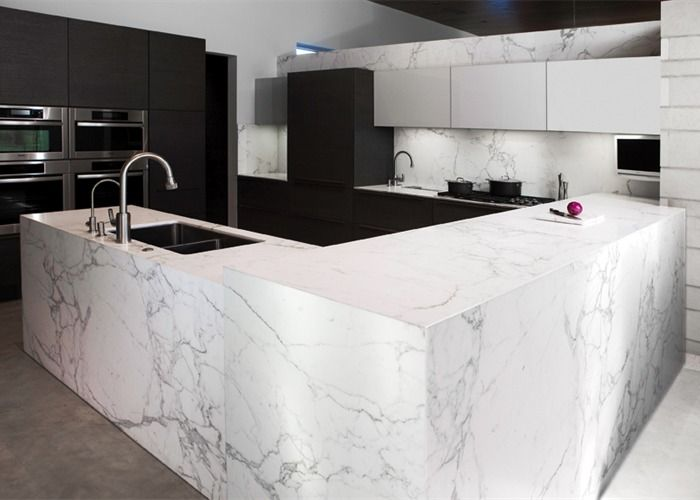 Image of: White Marble Kitchen Countertop Picture
