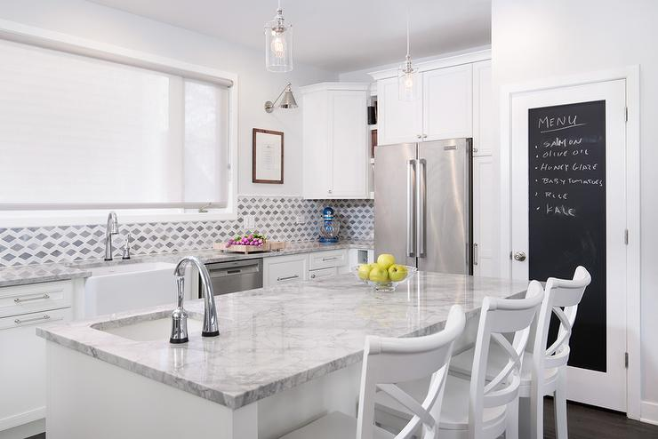 White Super Marble Kitchen Countertops Images